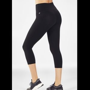 Fabletics Black Cropped Yoga Pants With Cutouts